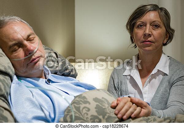 關心, 藏品, 妻子, 有病, 手, 年長者, 丈夫的 - csp18228674
