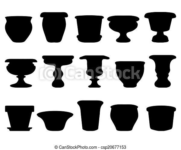 陶器 シルエット ベクトル 黒 フラワーポット