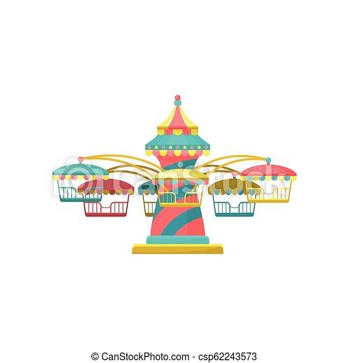 陽気, カラフルである, 公園, イラスト, 要素, ベクトル, 背景, 行きなさい, 白, ラウンド, 娯楽, 回転木馬 - csp62243573
