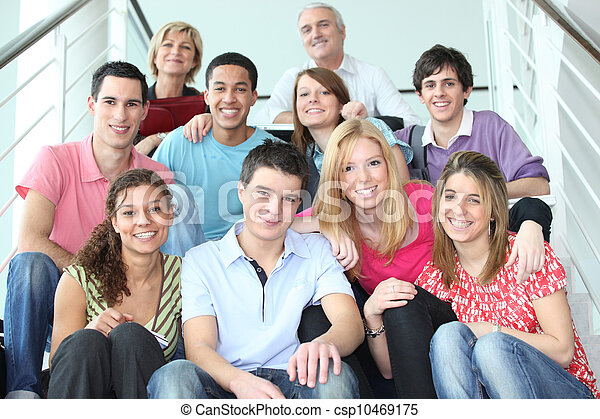 階段, 人々, グループ, 若い, モデル - csp10469175