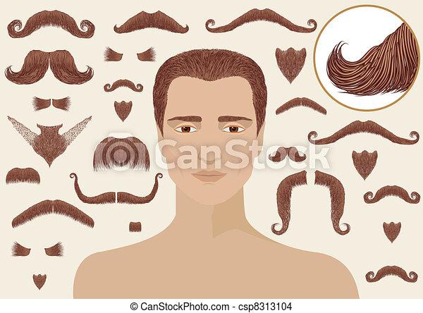 隔離された, あごひげ, man., コレクション, デザイン, 大きい, 口ひげ - csp8313104