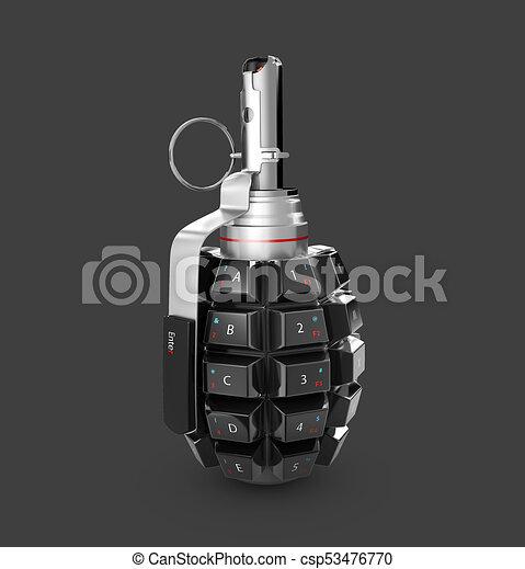 隔離された, イラスト, バックグラウンド。, 黒, keyboard., 手榴弾, 3d - csp53476770