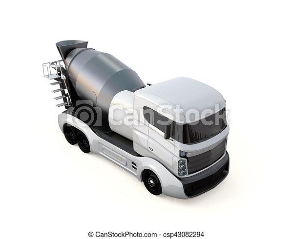 隔離された, ミキサー, コンクリート, トラック, 背景, 白 - csp43082294
