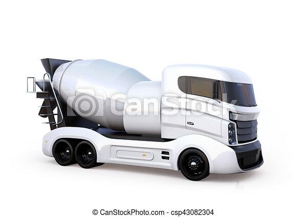 隔離された, ミキサー, コンクリート, トラック, 背景, 白 - csp43082304