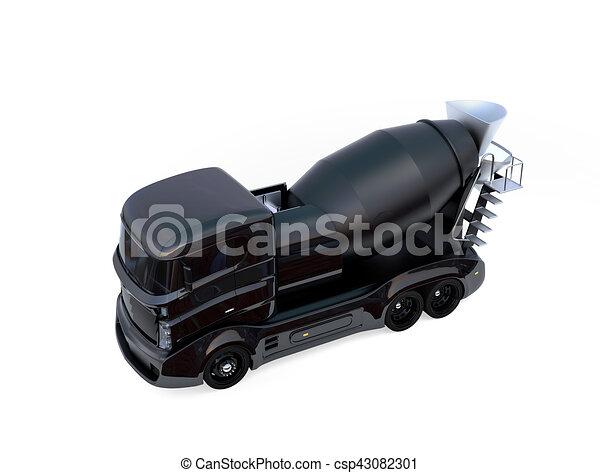 隔離された, ミキサー, コンクリート, トラック, 背景, 黒, 白 - csp43082301