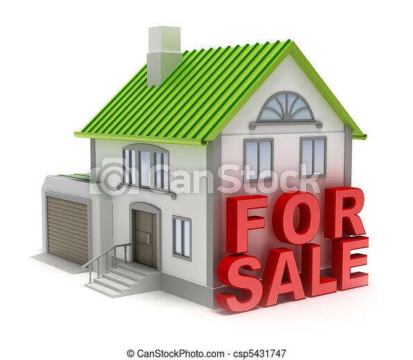 隔離された, 家, 概念, 3d, sale. - csp5431747