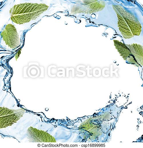 隔離された, 水, はね返し, 緑の白, ミント - csp16899985