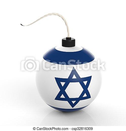 隔離された, 爆弾, イスラエル, 砲弾, 旗, バックグラウンド。, 白 - csp32816309