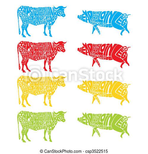 隔離された, 牛, 豚 - csp3522515