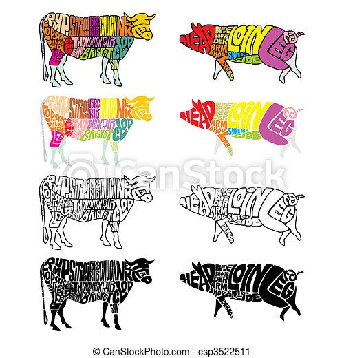 隔離された, 牛, 豚 - csp3522511
