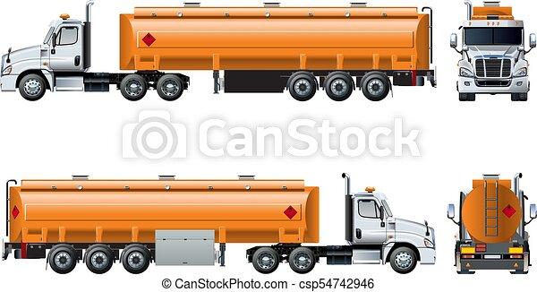 隔離された, 現実的, ベクトル, トラック, テンプレート, 白, タンカー - csp54742946