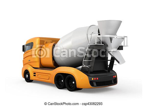 隔離された, 黄色, コンクリート, トラック, ミキサー, 背景, 白 - csp43082293