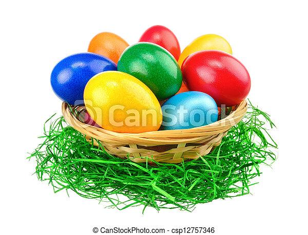 隔離, 蛋, 復活節, 鮮艷 - csp12757346