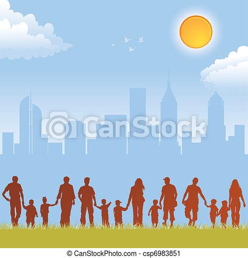 集めなさい, シルエット, 家族 - csp6983851