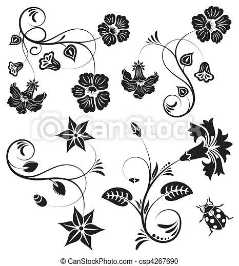 集めなさい, 花, ボーダー - csp4267690