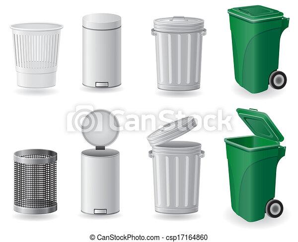 集合, 圖象, 垃圾箱, 插圖, 罐頭, 垃圾 - csp17164860
