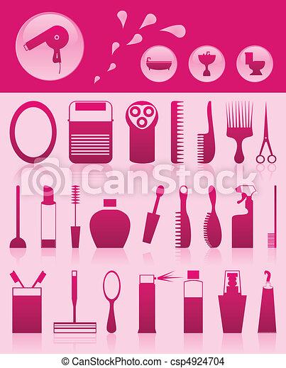 集合, 圖象, 插圖, 主題, 矢量, bathroom. - csp4924704