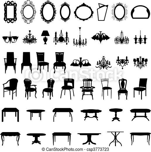 集合, 黑色半面畫像, 家具 - csp3773723