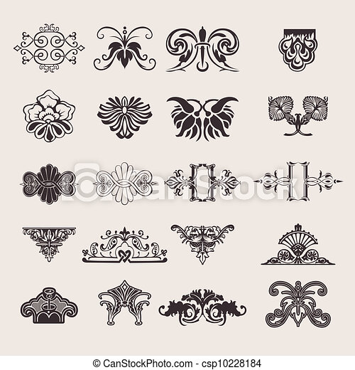 集合, 20, 顏色, 一, 元素, 設計, 裝飾華麗 - csp10228184