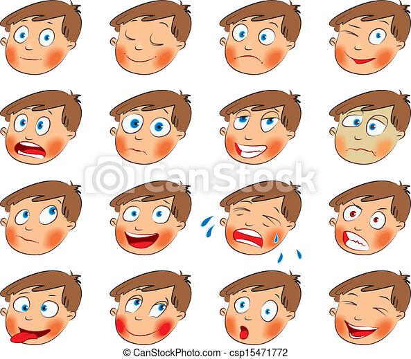 集合, emotions., 面部, 卡通 - csp15471772