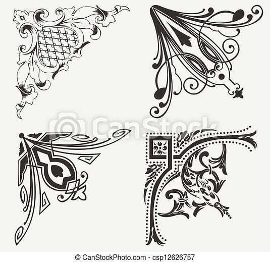 集合, hogh, corners., 四個元素, 裝飾華麗, design. - csp12626757