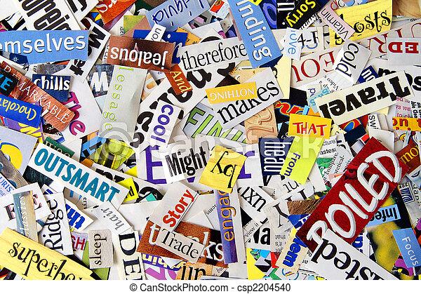 雑誌, 単語, 切り抜き, 背景 - csp2204540