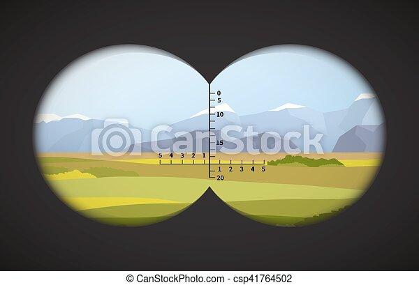 雙筒望遠鏡, 領域, 風景, 看法 - csp41764502