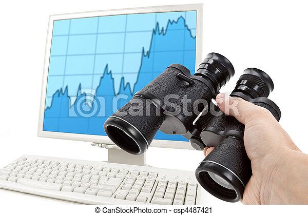 雙筒望遠鏡, 黑色, 圖表, 市場 - csp4487421