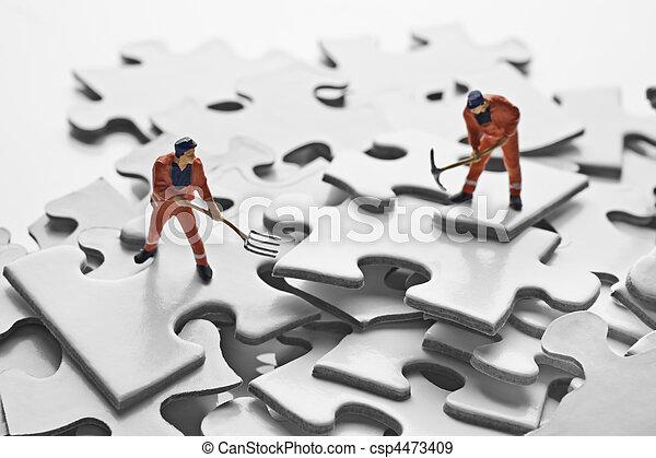 難題, 小雕像, 工人, 片斷 - csp4473409
