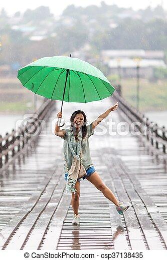 雨, ダンス - csp37138435