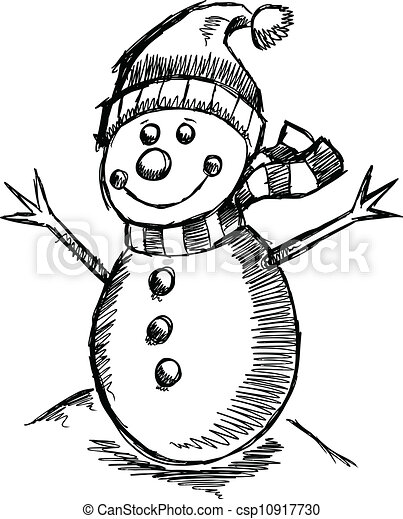 雪だるま, かわいい, スケッチ, 休日, 冬 - csp10917730