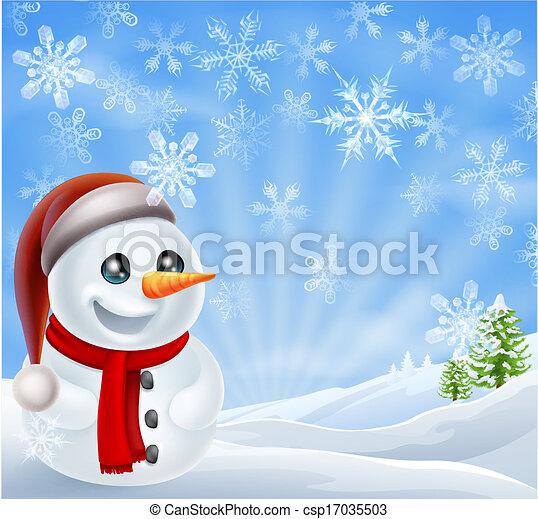 雪だるま, クリスマス, 冬場面 - csp17035503