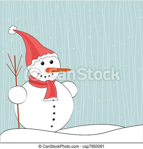 雪だるま, クリスマス, 背景, 冬 - csp7950091