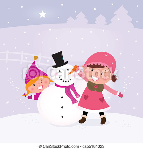 雪だるま, 作成, 幸せ, 2人の子供たち - csp5184023