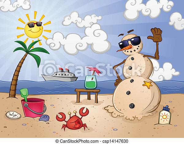 雪だるま, 砂, 特徴, 漫画 - csp14147630