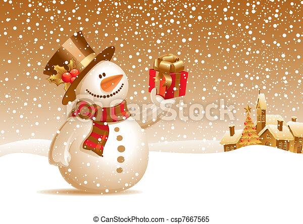 雪だるま 贈り物 イラスト ベクトル 微笑 クリスマス 風景