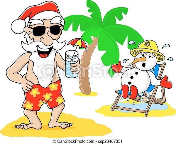 雪だるま, claus, 休暇, santa, 浜, クリスマス - csp23487351