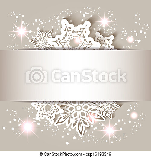 雪片, 星, クリスマスカード, 挨拶 - csp16193349