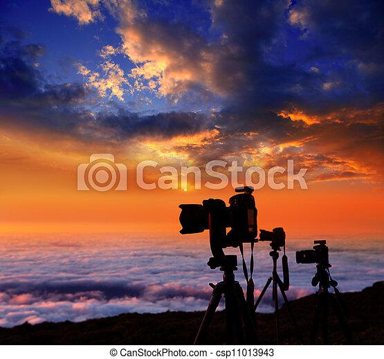 雲, カメラマン, tripods, カメラ, 日没, 海 - csp11013943