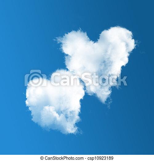 雲, スカイブルー, 心の形をしている, 2 - csp10923189