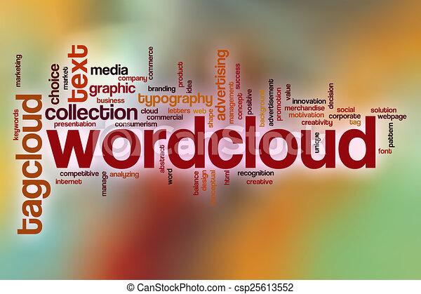 雲, 抽象的, 単語, wordcloud, 背景 - csp25613552