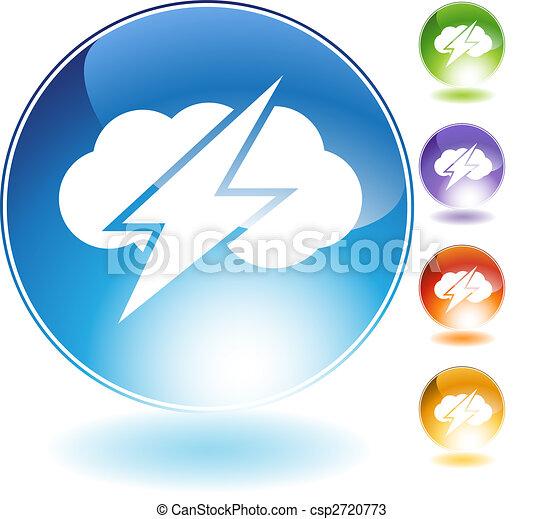 雷, 水晶, 雲, アイコン - csp2720773
