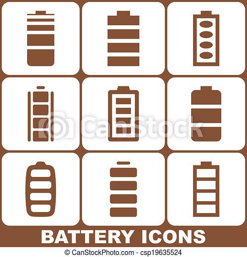 電池, セット, アイコン - csp19635524