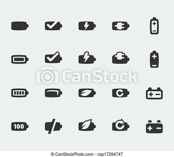 電池, ミニ, ベクトル, セット, アイコン - csp17294747