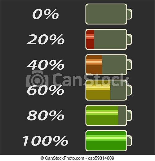 電池, レベル, 力 - csp59314609