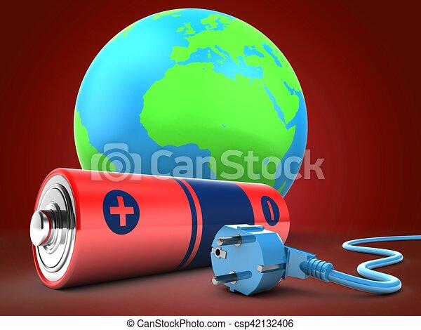 電池, 地球の 地球, 3d - csp42132406