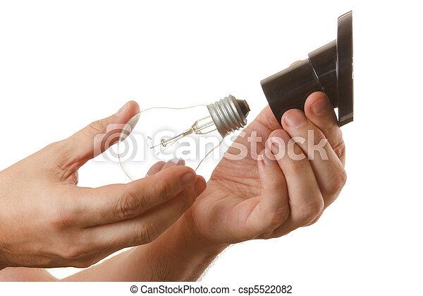 電球, ねじり, カートリッジ, 手 - csp5522082