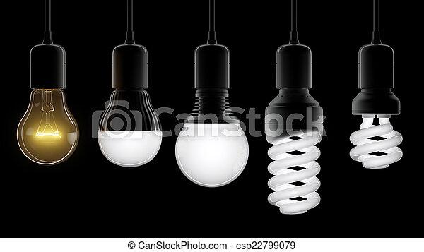 電球, 別, タイプ, ライト - csp22799079