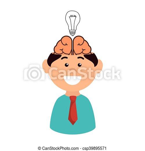 電球, 微笑の人, 脳 - csp39895571