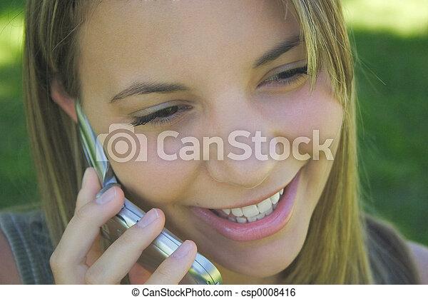 電話の女性 - csp0008416
